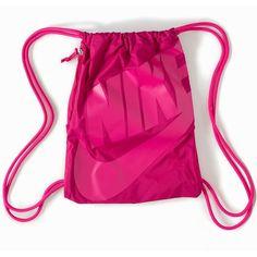 Nike Heritage Age Gymsack ($24) ❤ liked on Polyvore featuring bags, handbags, accessories, fuchsia, womens-fashion, fuschia purse, drawstring handbag, fuschia handbag, pink bag and pink gym bag