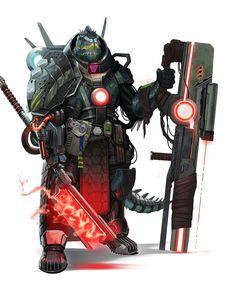 Obozaya, Iconic Vesk Mercenary Soldier - Starfinder RPG (Core Rulebook Art)