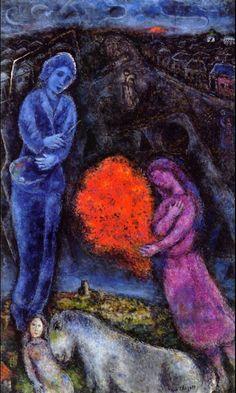 Saint-Paul de Vance at Sunset, 1977, Marc Chagall    Medium: oil on canvas Marc Chagall, Artist Chagall, Modigliani, Henri Matisse, Pablo Picasso, Chagall Paintings, Jewish Art, Naive Art, Art Graphique