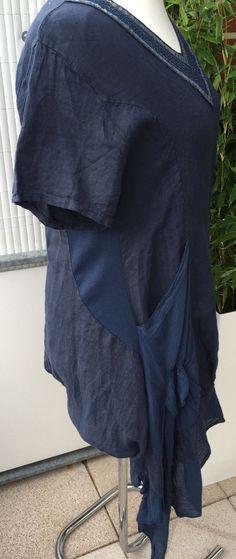Design Zipfel Leinen Kleid Tunika Ballon Lagenlook blau 42 44 46 48 XL | eBay