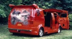 Custom Vans From the 70s | B200 Van Orange 8 Cylinder Automatic 2 wheel drive Hot Rods & Customs ...