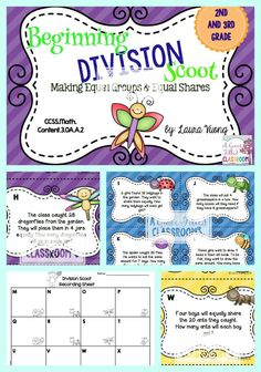 This insect themed scoot is a must have for your division unit in April or May. Your students will have a blast scooting around the room while making equal groups and equal shares. It comes with 24 different cards for the students to practice.