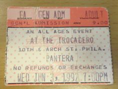 1992 PANTERA SKID ROW PHILADELPHIA CONCERT TICKET STUB VULGAR DISPLAY OF POWER