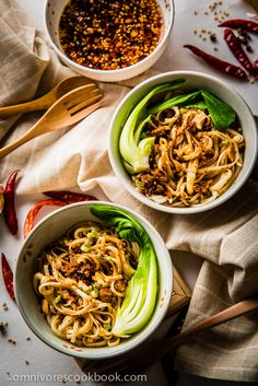 Dan Dan Noodles (担担面) - This recipe provides a simple and authentic approach to the famous Sichuan snack. Simple yet scrumptious, a hot and beautiful dish | omnivorescookbook.com