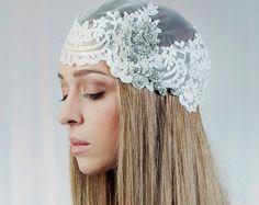 Wedding cap ,Bridal Blooming Cap Veil , Laced Veil , Vintage Headpiece ,Hair Accessory, Wedding Head Piece    - Style 211