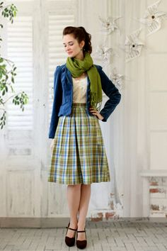 I've always been a sucker for the plaid skirt/velvet jacket idea. Such pretty colors, too!