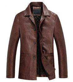 New Men's Leather Jacket Black Slim fit Biker Motorcycle jacket #NEW…