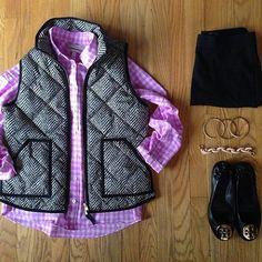 herringbone J.Crew vest + colored gingham button down + black leggings + black TB flats