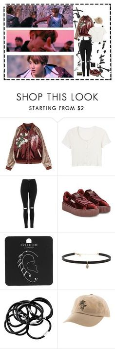 """""""Bts """"Not today"""""""" by ohmyheartu ❤ liked on Polyvore featuring Quinny, Topshop, Puma, Carbon & Hyde, Michele, BOBBY, H&M, outfit, bts and jungkook"""