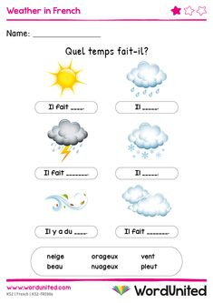 This brilliant resource is a wonderful way to reinforce French weather vocabularly. Children will find the bright and colourful illustrations engaging. Free French Lessons, French Language Lessons, Free In French, Spanish Lessons, French Teaching Resources, Teaching French, Spanish Activities, Teaching Spanish, Learning French For Kids
