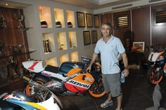 The ultimate trophy room at Mick Doohan's home. Mick Doohan must have had a very special clause in his contracts with Honda. They gave him his title winning motorcycles (Honda from Trophy Rooms, Honda Motorcycles, Motorcycle Bike, Bike Life, Motogp, Champion, Home, Racing, Motorcycles
