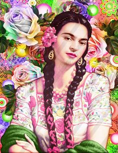 Frida Kahlo Digital Collage Instant Download China Poblana.