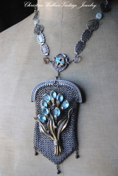 Sweetheart Sparrow's Pouch--Vintage Assemblage ChainMaille Victorian Coin Purse NECKLACE. $267.00, via Etsy.