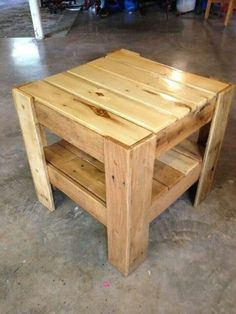 Bedside Or End Table Made From Pallets