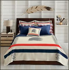 Pendelton Heroic Chief Bedding A Striking Silhouette Of Native American Is The Central Image This Unique Circa Design