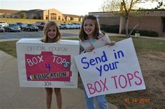Box Tops for Education - cute idea for a reminder around deadline time.