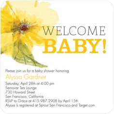Baby Shower Invitations Gorgeous Blossom - Front : Citrus