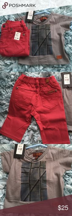 Baby Boy 7 For All Mankind Outfit Brand new with tags! 7 For All Mankind Baby boy outfit (tee & pants) 7 For All Mankind Matching Sets