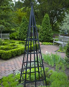 I had a pair of these made for my own garden. The blacksmith used this photo of an iron tuteur from martha stewart's garden as a model.