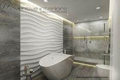 Projekt łazienki Inventive Interiors - dekoracyjne panele 3d jako tło dla wanny w salonie kąpielowym
