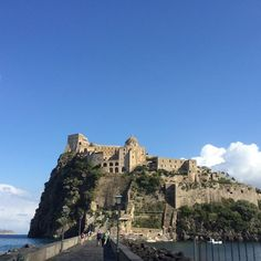 Aragonese Castle, ischia northern end of the Gulf of Naples, Italy. The castle stands on a volcanic rocky islet that connects to the larger island of Ischia by a causeway. #instatraveling #italy #italy❤️ #italytrip #italygram #ischia #ischiatravel #ischia