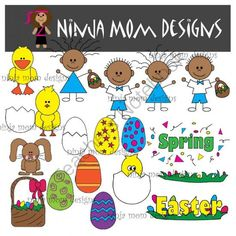 Spring and Easter Clip Art in Color and Black Line from Ninja Mom Designs on TeachersNotebook.com -  (1 page)  - 36 images with transparent background in PNG format. Dress in your Sunday Best and Hunt Easter Eggs with this Cute Set!