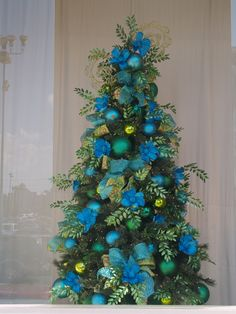 Christmas Tree decorated in colors of the sea-Turquoise, Lime Green, Blue, and Green