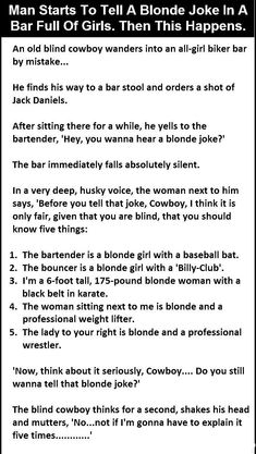 Man Starts To Tell A Blonde Joke In A Bar Full Of Girls Then This Happens funny jokes story lol funny quote funny quotes funny sayings joke hilarious humor stories funny jokes