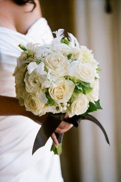 Cream roses with black tie