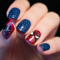 Amazing Spiderman Nail Art Designs Ideas You Can Try at Home Now! Hair And Nails, My Nails, Nails Inc, Cute Nails, Pretty Nails, Marvel Nails, Nail Art Pictures, Kawaii Nails, Nails For Kids