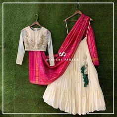 20 Latest Suruchi Parakh Lehengas For Budget Brides - Indian Gowns Dresses, Indian Fashion Dresses, Dress Indian Style, Indian Designer Outfits, Indian Wear, Fashion Outfits, Indian Attire, Half Saree Designs, Choli Designs