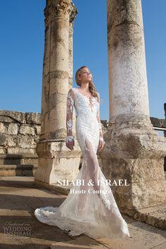 shabi and israel wedding dresses 2015 long sleeves lace deep v neckline sheath white dress low cut bridal gown