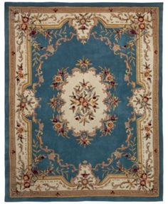 "Kenneth Mink Majesty Aubusson Light Blue 7'6"" x 9'6"" Area Rug"