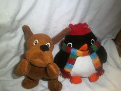 "Mothercare - Penguin & Dog soft toys - 7"" & 8"" H"