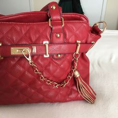 Call It Spring Purse Red quilted purse from Call It Spring. Has detachable shoulder strap. EUC. No flaws Call It Spring Bags Crossbody Bags