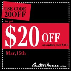 Use Code 20OFF to get USD20 off on orders over USD150 till Mar15th, 2012