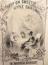 1878 Victorian Mourning Childs Funeral Sleep Sweetly Darling Antique Sheet Music