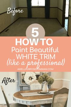 Tips to Paint Beautiful White Trim from A Professional Painter - A Well Purposed Woman Painting Wood Trim, House Painting, Diy Painting, Pine Trim, Off White Kitchens, Stained Trim, Sanding Wood, Dollar Store Hacks, Professional Painters
