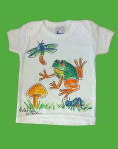 Handpainted Froggie EnvelopeNeck T for by DeborahWillardDesign, $22.00