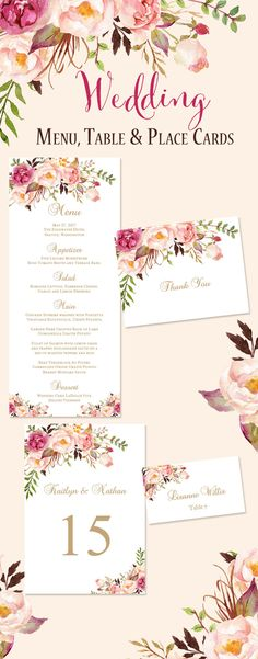 Beautiful Watercolor printable menu cards, table number templates, wedding seating place cards and thank you's in the Romantic Blossoms design series. Each template in an instant download and editable within Word. Download, Print, Done!