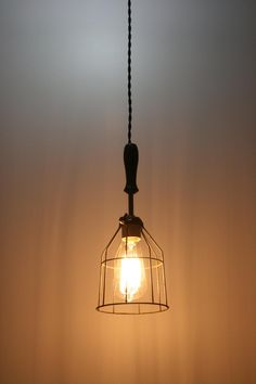 Need to keep my eyes out for these - Wood Handle Industrial Hanging Pendant Light with Vintage Style Wire Cage Guard - Hanging Lamp hand crafted by Industrial Rewind Wooden Handles, Light, Handmade Lighting, Hanging Pendants, Ceiling Lamp, Pendant Light, Pendant Fixture, Hanging Pendant Lights, Bathroom Pendant