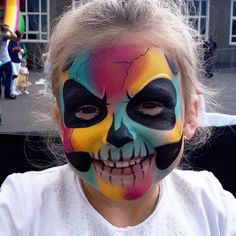 """24 Likes, 1 Comments - April PaintyPixie Hernandez (@april.hernandez.9887) on Instagram: """"Another colourful skull #facepaint from today #colour #skulls #skullmakeup #facepainting…"""""""