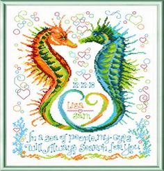 Popular Embroidery Designs My Eyes Search for You - cross stitch pattern designed by Ursula Michael. - My Eyes Search for You cross stitch pattern. Remember a perfect wedding with this special seahorse design. Cross Stitch Samplers, Counted Cross Stitch Patterns, Cross Stitch Charts, Cross Stitching, Embroidery Shop, Cross Stitch Embroidery, Embroidery Designs, Wedding Cross Stitch Patterns, Ursula