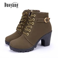 742dd91b86bf Inornever Women Autumn Ankle Booties Sexy Round Toe Military Lace Up Buckle  Stiletto Heel Platform Boots Brown 95 B M US -- BEST VALU…