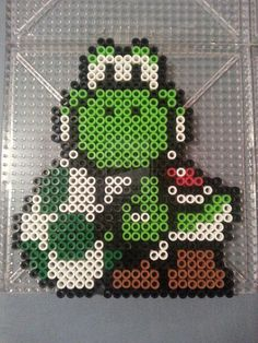 Yoshi and Egg Perler Figure by AshMoonDesigns https://www.etsy.com/shop/AshMoonDesigns