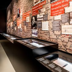 On this wall visitors can investigate the life of Mata Hari. Is she a suspect? By using a touchscreen, visitors can write a message for Mata Hari. #exhibitiondesign