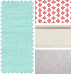 Coral and mint and gray nursery color scheme