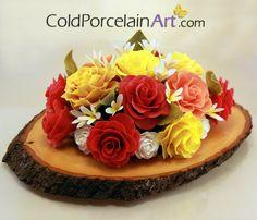 Spring Roses Centerpiece  Cold Porcelain Art  by ColdPorcelainArt, $210.00