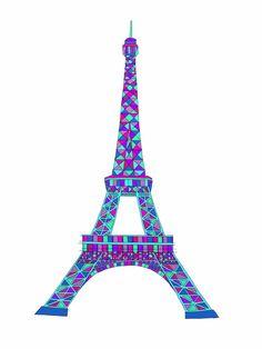 Colorful Geometric Eiffel Tower 8x10 Illustration by azaleaandjett, $22.00
