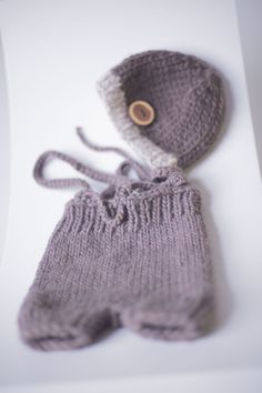 PROPS | Stephanie Resch Photography  Dark Brown hand knit 2/3 pants with knit suspenders & matching hat: Newborn Some Ideas, Photography Props, Suspenders, Hand Knitting, Dark Brown, Winter Hats, Baby, Pants, Trouser Pants